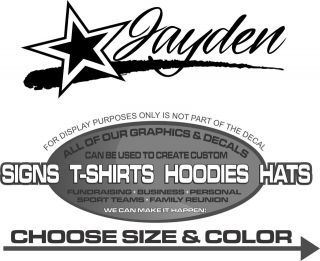 Jayden Custom Name Star Stripe Personalized Sticker Decal 4 Laptop