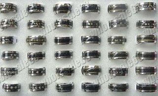 jewelry bulk 15pcs charm stainless steel solid color mood change rings