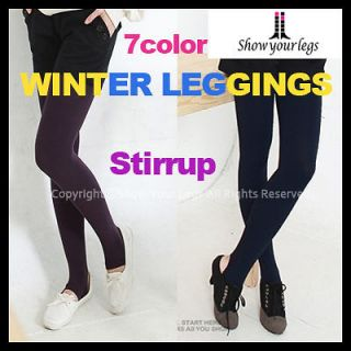 FLEECE lined STIRRUP LEGGINGS tights opaque warm thermal thick womens