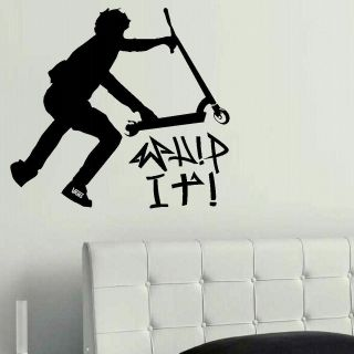 LARGE STUNT TRICK SCOOTER CHILDREN BEDROOM WALL MURAL STENCIL ART