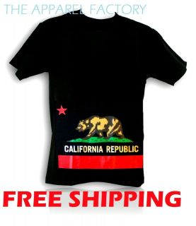 REPUBLIC FLAG Black T Shirt Size S,M,L,XL Bear star state Map