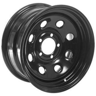 Summit Racing 85 Black Steel 8 Series Wheels 15x7 5x4.5 BC Set of 5