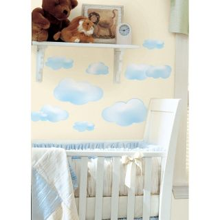 19 New BLUE CLOUDS WALL DECALS Baby Nursery Stickers Kids Room Sky