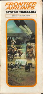 Frontier Airlines system timetable 6/1/74 [210 1]