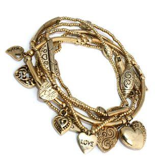 Gold Pl Puff Hearts Love GOOD KARMA Charm Stretch Beaded Bracelets
