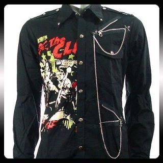 the clash punk rock biker ls long sleeve shirt sz l