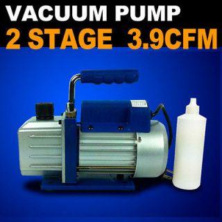 Vacuum Pump 2 Stage 3.9 CFM 1/3HP Rotary Vane Deep HVAC Tool AC R410a