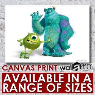 Pixar Monsters Inc Mike And Sully High Quality Framed Canvas Art