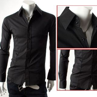 New Mens Slim Fit Super Casual Luxury Tops Button Dress Shirt IN Size