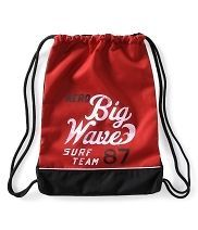 Aeropostale Red Aero Big Wave Surf Team 87 String Bag Backpack New