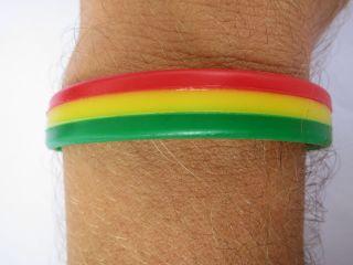 Rastafari Rasta Reggae Jamaica Mens Ladies Rubber Wrist Band Bracelet