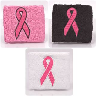 100qty Breast Cancer Pink Ribbon Sweatband   Cotton October Awareness