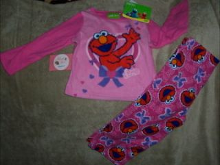 Sesame Street Happy Elmo Hearts Plush Fleece Long Pajama 2 Pc Set