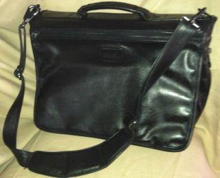 classic black leather tumi messenger bag briefcase