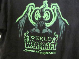 Blizzard World of WarCraft Burning Crusade Black T Shirt Tee Green L
