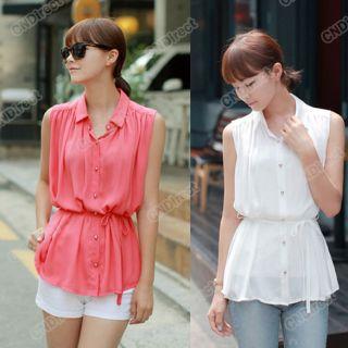 New Korean Womens Chiffon sleeveless Blouse Shirt Top 2Colors