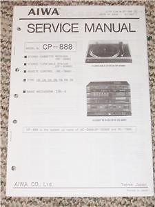 aiwa cp 888 stereo system service manual gp se888 time