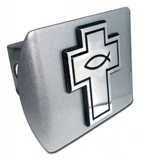 christian fish on cross chrome usa trailer hitch cover time