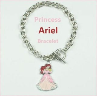 Ariel Little Mermaid Metal Charm Pendant Bracelet Birthday Party Gift