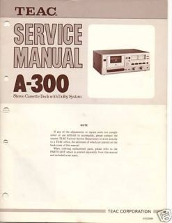 original teac service manual a 300 cassette deck time left