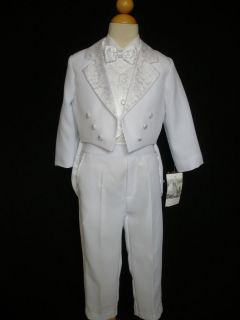 C3 Baby Boy Teen Formal Dress tuxedo vest Suit set White S M L XL 2 3