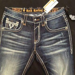 Rock Revival Mens Jeans Boot Cut Size 32 Waist Tucker B10 RJ8778B10