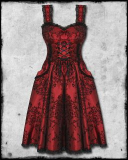 RED BLACK FLOCKED GOTH STEAMPUNK VICTORIAN THORNE CORSET PROM DRESS