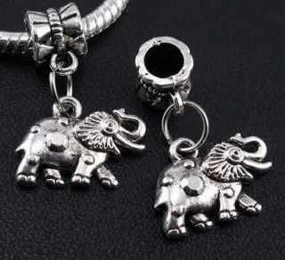 10pcs Tibetan Silver Elephant Dangles Charms Beads Fit European