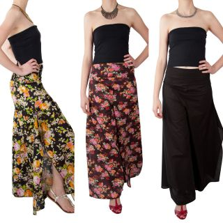70s INSPIRED WIDE LEG 100% COTTON PALAZZO PANTS TROUSERS SIDE SPLIT