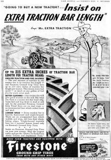 1941 Firestone Old Dobbin & Mr. Extra Traction Farm Tractor Tire Ad