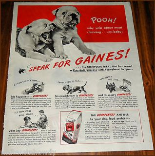 1945 English BULLDOG PUPPIES Vintage Gaines Dog Food Photo AD