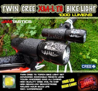 XML T6 MTB mountain bike torch lights head lamp set + LED rear light