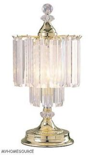 SHIPPING**19 FAUX CRYSTAL BARS + BRASS CHANDELIER TOUCH TABLE LAMP