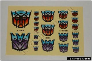 Transformers G1 Autobot Decepticon Insignia Symbol Sticker Decal Sheet