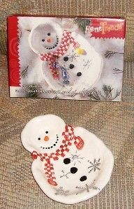 home trends ceramic snowman candy dish nib time left $