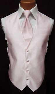 Petal Pink Jean Yves Onyx Fullback Vest & Tie Tuxedo Wedding Prom S