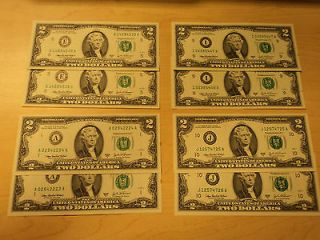16 Face Value (8) $2 Dollar Bills Federal Reserves (E, A, I, J) CRISP