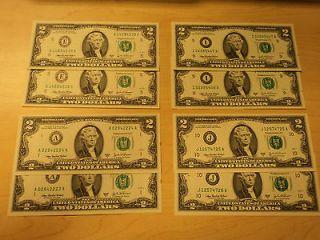 16 Face Value (8) $2 Dollar Bills Federal Reserves (E, A, I, J) CRISP