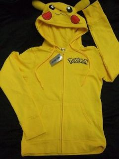 CUTE NWT SMALL YELLOW POKEMON PIKACHU EARS & TAIL HOODIE SWEATER ANIME