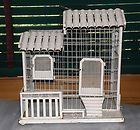 ANTIQUE VILLA STYLE WHITE METAL BIRD CAGE WITH FANTASTIC DETAILS