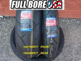 TIRE SET 120/70ZR17 & 190/50ZR17 FULL BORE USA SPORT BIKE MOTORCYCLE