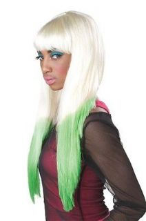 70067 COLOR DIPPED BLONDE GREEN NICKI MINAJ LONG STRAIGHT HALLOWEEN