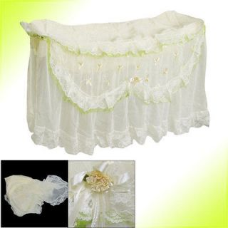 Flower Decor Ivory Lace Overlay Wall Mounted Air Conditioner Cover