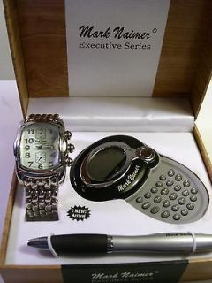 Mark Naimer Stainless Steel Quartz Watch, Calculator, Pen Set