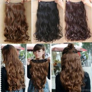 Korea Women Long Straight/wavy curly hair extension clip in on stylish