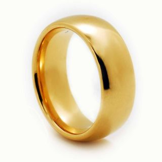 8mm Gold GP Domed Shiny Top Tungsten Carbide Band Mens Wedding Ring