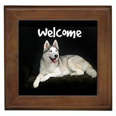 Welcome Front Door Framed Tile Sign Siberian Husky Puppy Dog Plaque