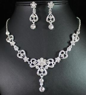 CLEAR AUSTRIAN RHINESTONE CRYSTAL NECKLACE EARRINGS SET BRIDAL N1387