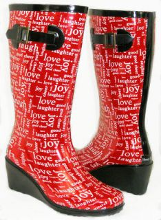 LOVE IT Medium Wedge Flat GALOSHES WELLIES RUBBER RAIN Boot Hunter