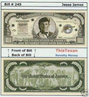 50 jesse james western outlaw historical bills lot time left